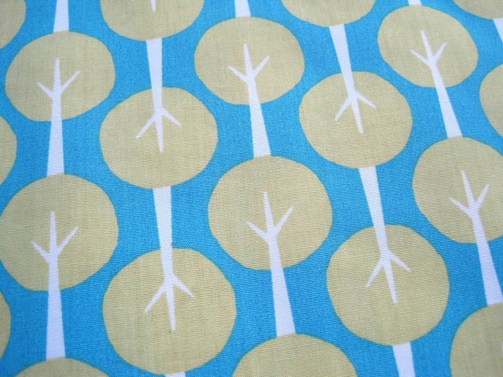 Organic Fabric Blue and Green Tree - &quot;Trees&quot; Taali Collection by Monaluna One Yard 