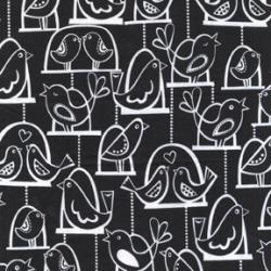 Black and White Bird Fabric - Citron Gray by Michael Miller 1 Yard